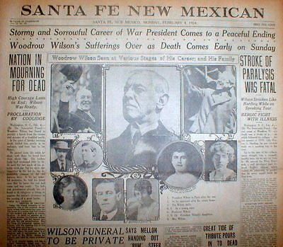 5 1924 display newspapers DEATH of EX-PRESIDENT WOODROW WILSON - many pictures !