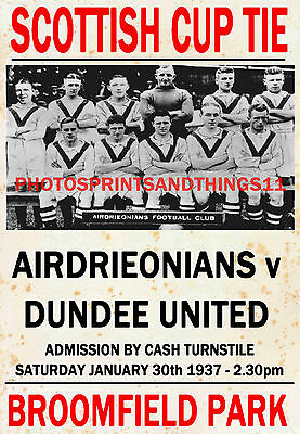 DUMBARTON VINTAGE STYLE MATCH POSTER 1936//37