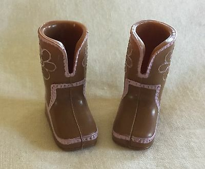 Bratz Kids Doll Brown Boots Shoes With Pink Flowers