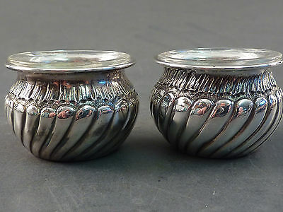 Pair Of Small Continental Silver Salts With Clear Glass Liners