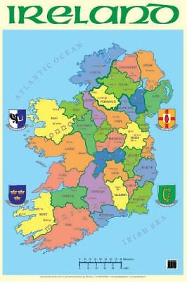 Map of Ireland Counties Poster - Geography Teaching Resource Poster 0151