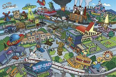 THE SIMPSONS ~ CITY SPRINGFIELD MAP 24x36 CARTOON POSTER Groenig NEW/ROLLED!