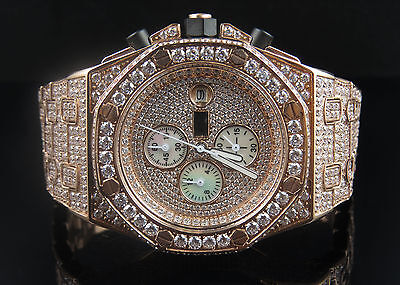 Mens Jewelry Unlimited Rose Gold Steel Simulated Diamond Wrist Watch 43MM