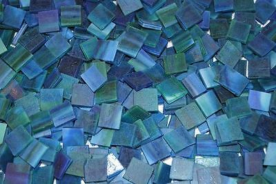 """100 1/2"""" Pacific Blue Green Tumbled Stained Glass Mosaic Tiles"""