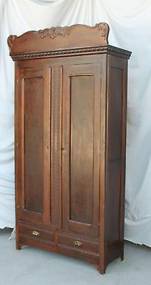 Antique Oak Wardrobe – original finish - two Door