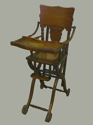 Antique Oak High Chair And Stroller Combination Chair