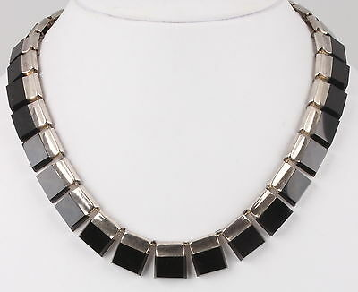 Sterling Silver Taxco Tr-33 Strand Of Black Onyx Stones Necklace Mexico 925 0788