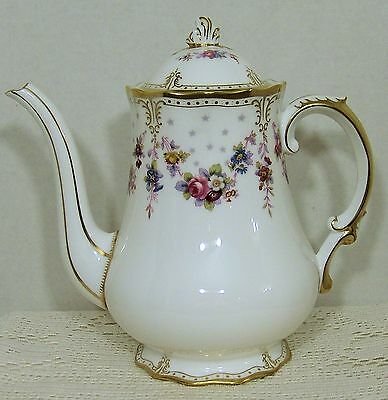 "Royal Crown Derby ""ROYAL ANTOINETTE"" Coffee Pot with Lid  PRISTINE!!!"
