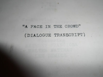 Vintage Movie Script 1957 Dialogue Transcript A FACE IN THE CROWD Andy Griffith