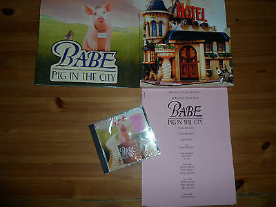 Vintage Movie Handout Babe Pig In The City 1998 Sealed Cd + Booklet Cast Sheet