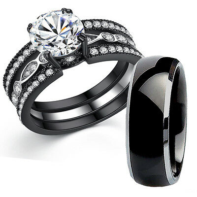 His Titanium Hers Black Stainless Steel Bridal Wedding Engagement Ring Band Set