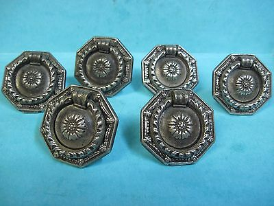 lot of 6 antique dresser drawer pull hanging handal silver colored originl
