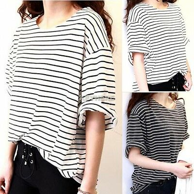 Tops Women Loose Batwing Blouse Short Sleeve Casual T-Shirt Oversize Black White