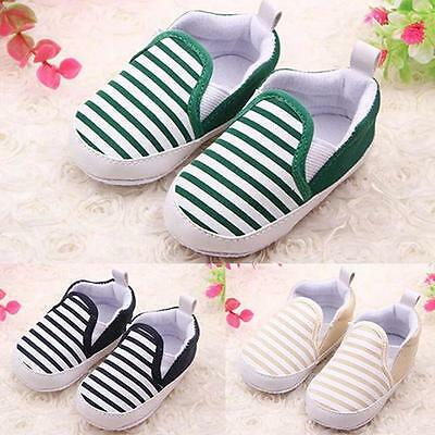 Modish Soft Toddler Baby Boy Shoes Crib Shoes Sole Striped Shoes 0-18 Months v5