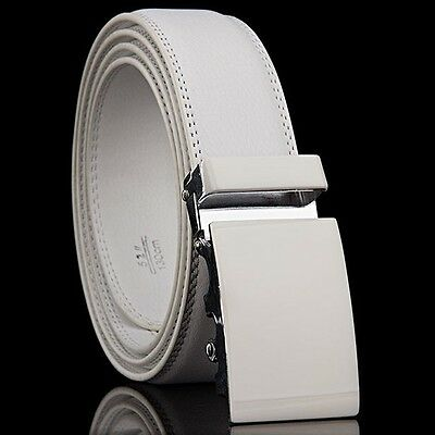 FUNKTION GOLF Mens White Leather Golf Belt Automatic Buckle Adjustable  30 -38 i