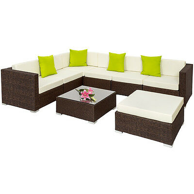 alu poly rattan sitzgruppe lounge rattanm bel gartenm bel couch schwarz b ware eur 559 99. Black Bedroom Furniture Sets. Home Design Ideas