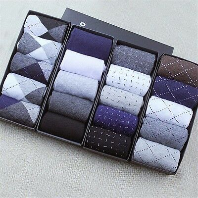 5 Pairs Men's Socks Cotton Blend Warm Casual Business Classic Dress Socks