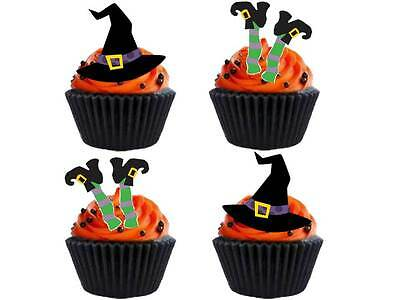 24 x Edible Halloween Party Witch Mix Legs Hat STAND UP UPS Cup Cake Toppers