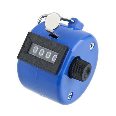 Plastic Handheld 4 Digit display Number Tally Counter Clicker Golf Blue EX