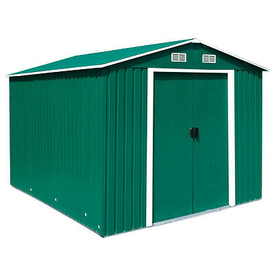 Charles Bentley Large 12ft x 10ft Green Apex Metal Garden Shed Outdoor Storage
