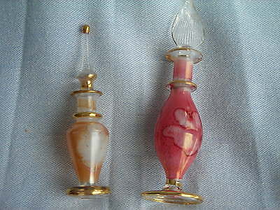Collectible Handpainted Glass Egyptian Perfume Decorative Bottles ( Lot Of 2).
