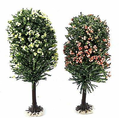 2 Dolls House Blossom Trees Miniature Garden Accessory Small 1:12 Large 1:24