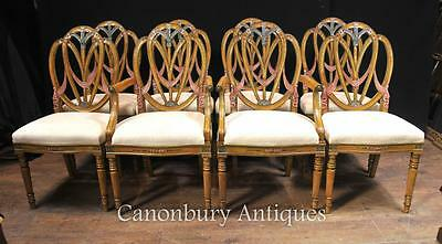 Set 8 Satinwood Hepplewhite Dining Chairs Painted Furniture