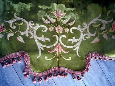 Antique French  Valance 19Th-Century  Silk Velvet Embroidery  Marie Antoinette