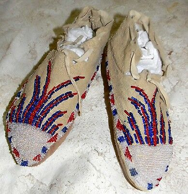 """Vintage Antique 8.25"""" Apache Beaded Moccasins from New Mexico"""