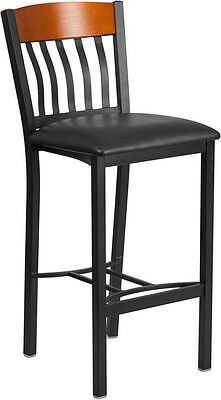 Lot Of 8 Vertical Back Black Metal And Cherry Wood Restaurant Barstool