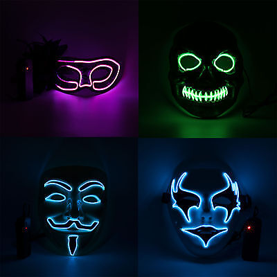 UK El Wire Light Up LED Mask Neon Rave Horrific Cosplay Party Halloween Costume