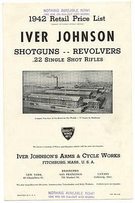 1942 WWII Iver Johnson Price List Shotguns Revolvers Rifle NOTHING AVAILABLE NOW