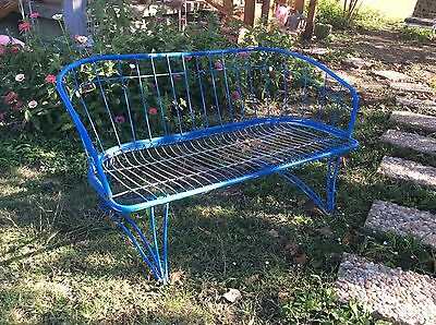 MID CENTURY IRON PATIO GARDEN BENCH settee chair SALTERINI WOODARD ERA vintage