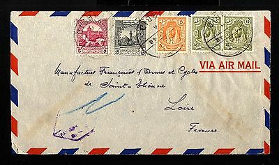 12965-JORDAN-AIRMAIL CENSOR COVER IRBID to SAINT ETIENNE (france).1948.WWII.
