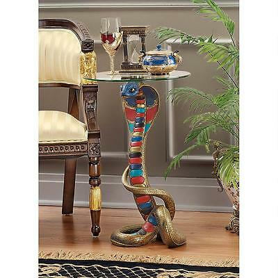 Ancient Egyptian Cobra Goddess Reneutet Sculptural Glass Top Accent Table