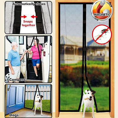 New Mesh Insect Fly Bug Mosquito Door Curtain Net Netting Mesh Screen Magnets UR