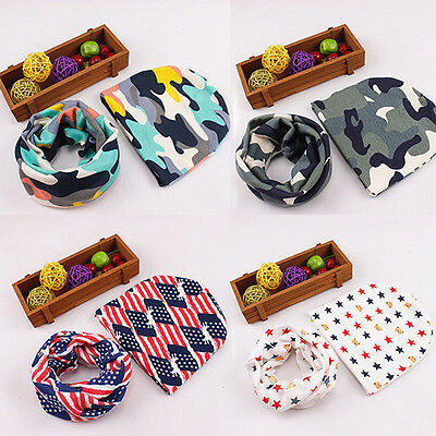 Kids Boy Girl Stretch Neckerchief Scarves Winter Warm Shawl + Hat Set Retro