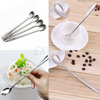 4pcs Long Handle Stainless Steel Tea Coffee Spoons Ice Cream Cutlery New