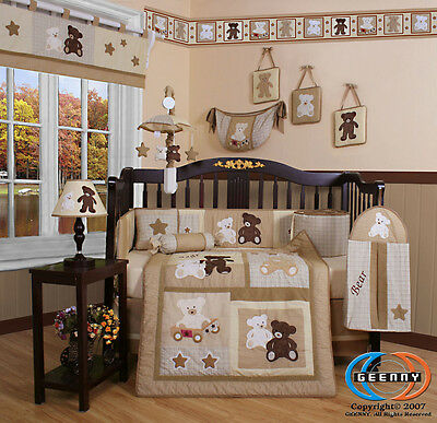 15PCS Teddy Bear CRIB BEDDING SET - Including Mobile and Lamp Shade