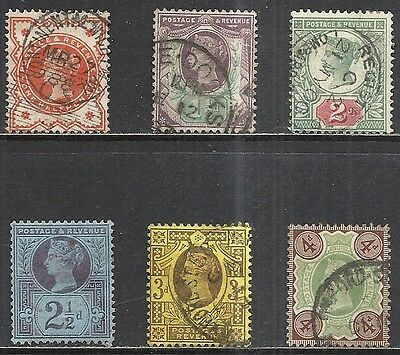 Great Britain: Scott 111 - 116 Used Sound - 1887 Queen Victoria Jubilee Issues