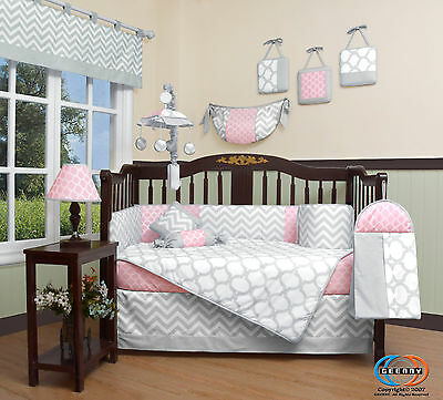 15PCS Pink Gray Chevron Baby CRIB BEDDING SET -Including Mobile and Lamp SHADE