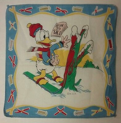 Donald Duck 1940's Vintage Child's Hanky Walt Disney Productions Skier Skiing