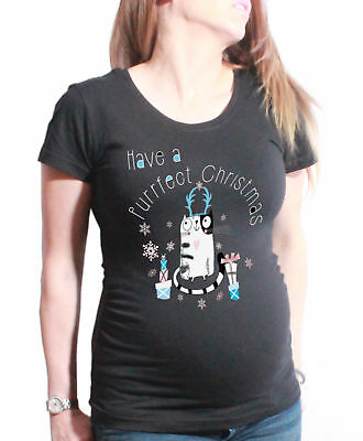 Ladies MATERNITY T-Shirt Have a Purrfect Christmas Funny Cat Womens PREGNANCY To