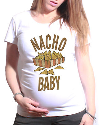 Ladies MATERNITY T-Shirt NACHO Baby Funny Gift Womens PREGNANCY Top