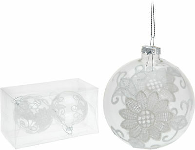Set of 2 Glass and White Lace Christmas Tree Decorations Christmas Tree Baubles