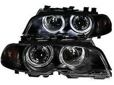 Pair of of headlights with Angel Eyes BMW E46 03- 06 Black