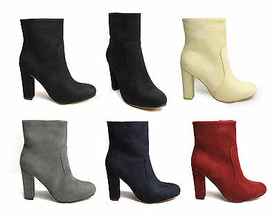 Women Ladies Block High Heels Ankle Boots Faux Suede Leather Shoes Office Simple