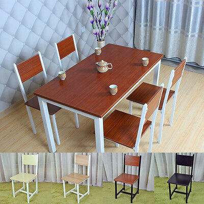 Modern Wood Dining Table and 4 Chairs Set Kitchen Furniture -Black,Teak & Walnut