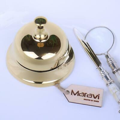 Ellora Gold Reception Bell Hotel Counter Desk Shop Restaurant Service Call Brass