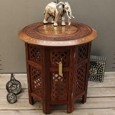 Small Side Table Wooden Round Coffee Lamp End Brown Hand Carved Indian Home 46cm